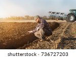young farmer examing  planted... | Shutterstock . vector #736727203