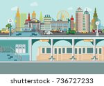 cityscape with subway train... | Shutterstock .eps vector #736727233