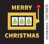 merry christmas fir tree. slot... | Shutterstock .eps vector #736730878