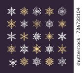 cute snowflakes collection... | Shutterstock .eps vector #736733104