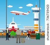 view on airplanes and control...   Shutterstock .eps vector #736735420