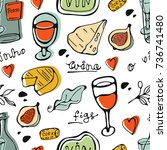 seamless pattern with wine and... | Shutterstock .eps vector #736741480