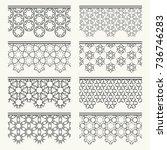 set of black seamless borders ... | Shutterstock .eps vector #736746283