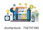 data driven marketing strategy. ... | Shutterstock . vector #736747180