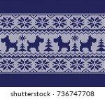vector nordic christmas sweater ... | Shutterstock .eps vector #736747708