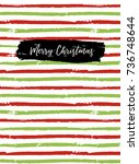 merry christmas greeting card ... | Shutterstock . vector #736748644