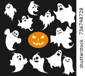 ghost  a set of ghosts for... | Shutterstock .eps vector #736748728