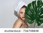 face scrub  spa care  young... | Shutterstock . vector #736748848