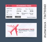 boarding pass ticket red and... | Shutterstock .eps vector #736750360