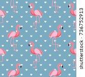 cute retro seamless flamingo... | Shutterstock . vector #736752913