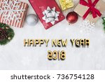 happy new year 2018 with... | Shutterstock . vector #736754128
