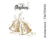 christmas card with hand drawn... | Shutterstock .eps vector #736755454