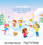 winter illustration with kids... | Shutterstock .eps vector #736757008