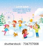 winter illustration with kids... | Shutterstock .eps vector #736757008