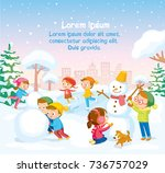 winter illustration with... | Shutterstock .eps vector #736757029