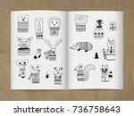 vector christmas  doodle... | Shutterstock .eps vector #736758643