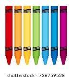 crayons color set flat vector | Shutterstock .eps vector #736759528
