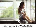 relaxation at home beautiful... | Shutterstock . vector #736761004