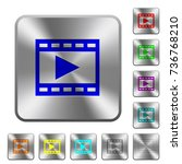 play movie engraved icons on... | Shutterstock .eps vector #736768210