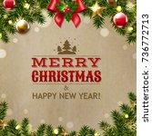 christmas vintage card | Shutterstock . vector #736772713