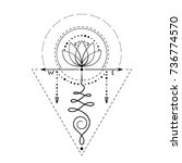 lotus tattoo with compass...   Shutterstock .eps vector #736774570