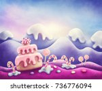 fantasy sweet land in winter | Shutterstock . vector #736776094