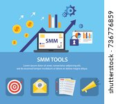 the banner with smm and seo... | Shutterstock .eps vector #736776859