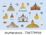 myanmar burma travel... | Shutterstock .eps vector #736779934