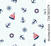 seamless pattern with sailboat  ... | Shutterstock .eps vector #736785379