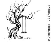 handsketched old crooked tree... | Shutterstock .eps vector #736788829