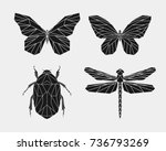 set of black polygonal insects. ... | Shutterstock .eps vector #736793269