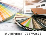 interior design   paint color... | Shutterstock . vector #736793638