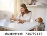 young caucasian businesswoman... | Shutterstock . vector #736793659