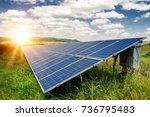solar panels  photovoltaic  ... | Shutterstock . vector #736795483