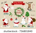 christmas santa and animals... | Shutterstock .eps vector #736801840