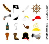 pirate set icon. flag and saber.... | Shutterstock .eps vector #736803304