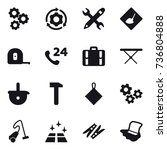 16 vector icon set   gear ... | Shutterstock .eps vector #736804888