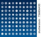 set of vector snowflakes on... | Shutterstock .eps vector #736806430