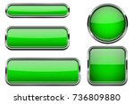 green glass buttons with chrome ... | Shutterstock .eps vector #736809880