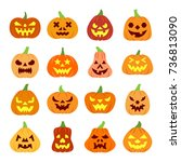 colorful carving face halloween ... | Shutterstock .eps vector #736813090