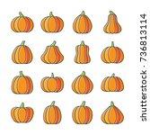 halloween pumpkin icon set.... | Shutterstock .eps vector #736813114