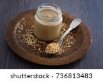 Jar Of Homemade Tahini With...