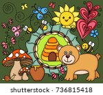 illustration of a hungry bear | Shutterstock .eps vector #736815418
