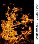 fire flames on a black... | Shutterstock . vector #736817140