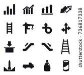 16 vector icon set   graph ... | Shutterstock .eps vector #736817338