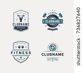 set of fitness badges with... | Shutterstock .eps vector #736827640