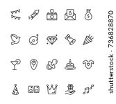 happy birthday icon set.... | Shutterstock .eps vector #736828870