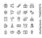 happy birthday icon set.... | Shutterstock .eps vector #736829074