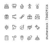 happy birthday icon set.... | Shutterstock .eps vector #736829116