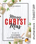 merry christmas party poster.... | Shutterstock .eps vector #736837189